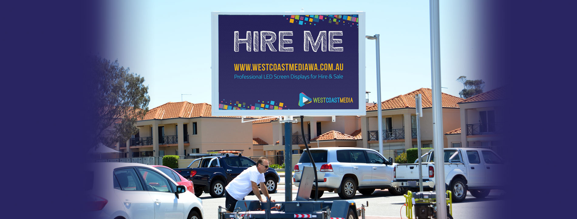 Hire led screen vms video mobile perth rent buy trailer